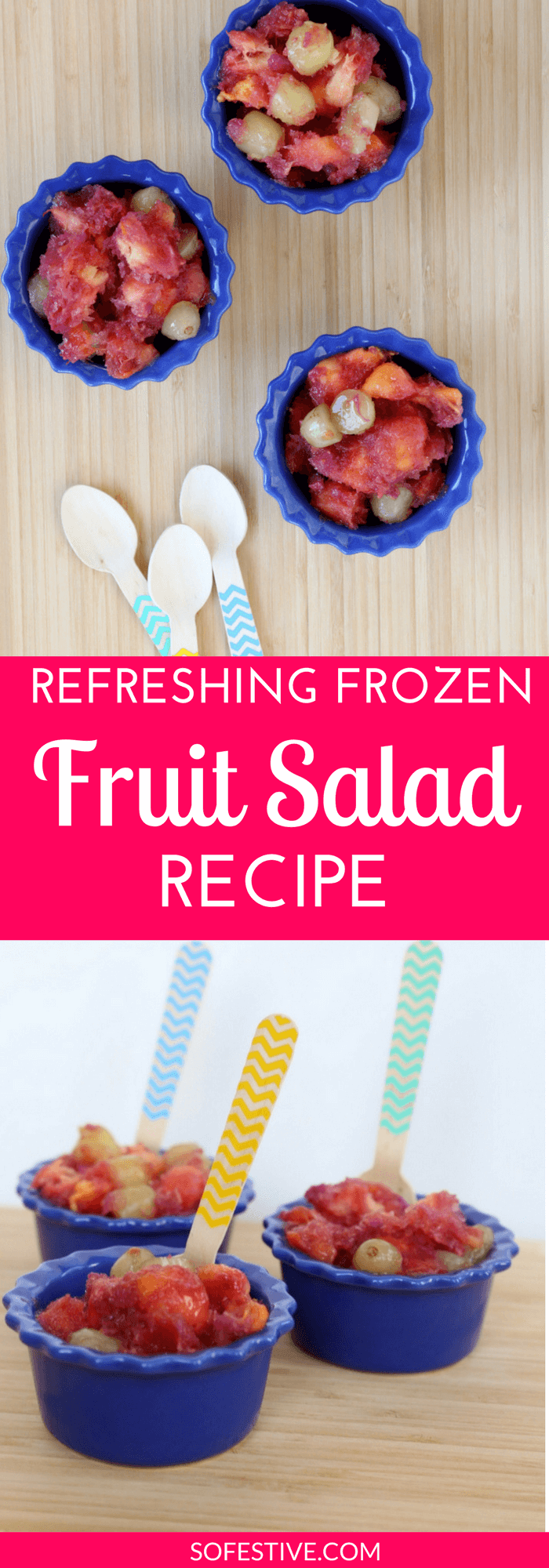 Simple and Refreshing Frozen Fruit Salad Recipe using fresh peaches-make a big batch now and enjoy fresh fruit all winter long