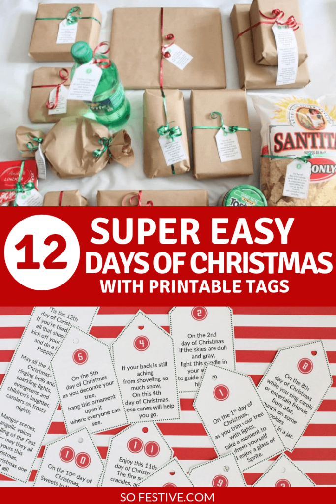12 Days of Christmas for Guys- Printable Tags and Gift Ideas