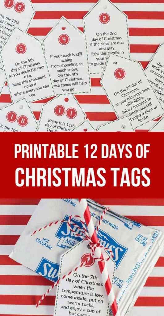 photograph relating to 12 Days of Christmas Printable Tags identify The Least complicated 12 Times of Xmas Thought + Printables - Thus Festive!
