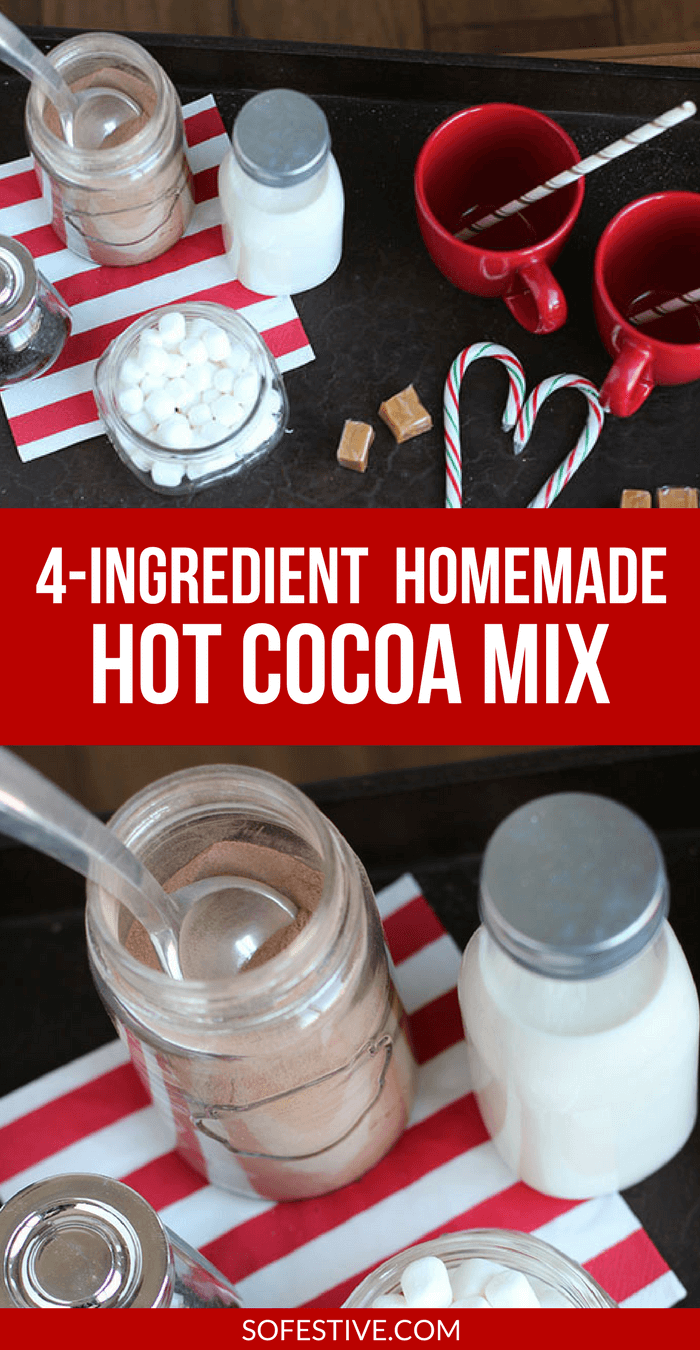 4 Ingredient Homemade Hot Cocoa Mix- Homemade Hot Chocolate- Simple Christmas Gift Idea
