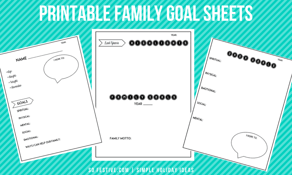 Simple + Practical Printable New Year\'s Resolutions Goal Sheets - So ...