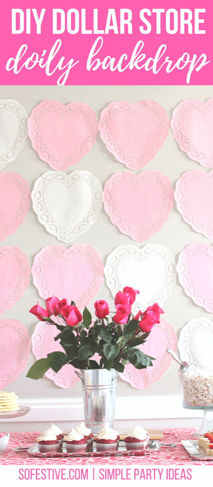 DIY Dollar Store Craft-Party Backdrop-Valentine's Party Ideas