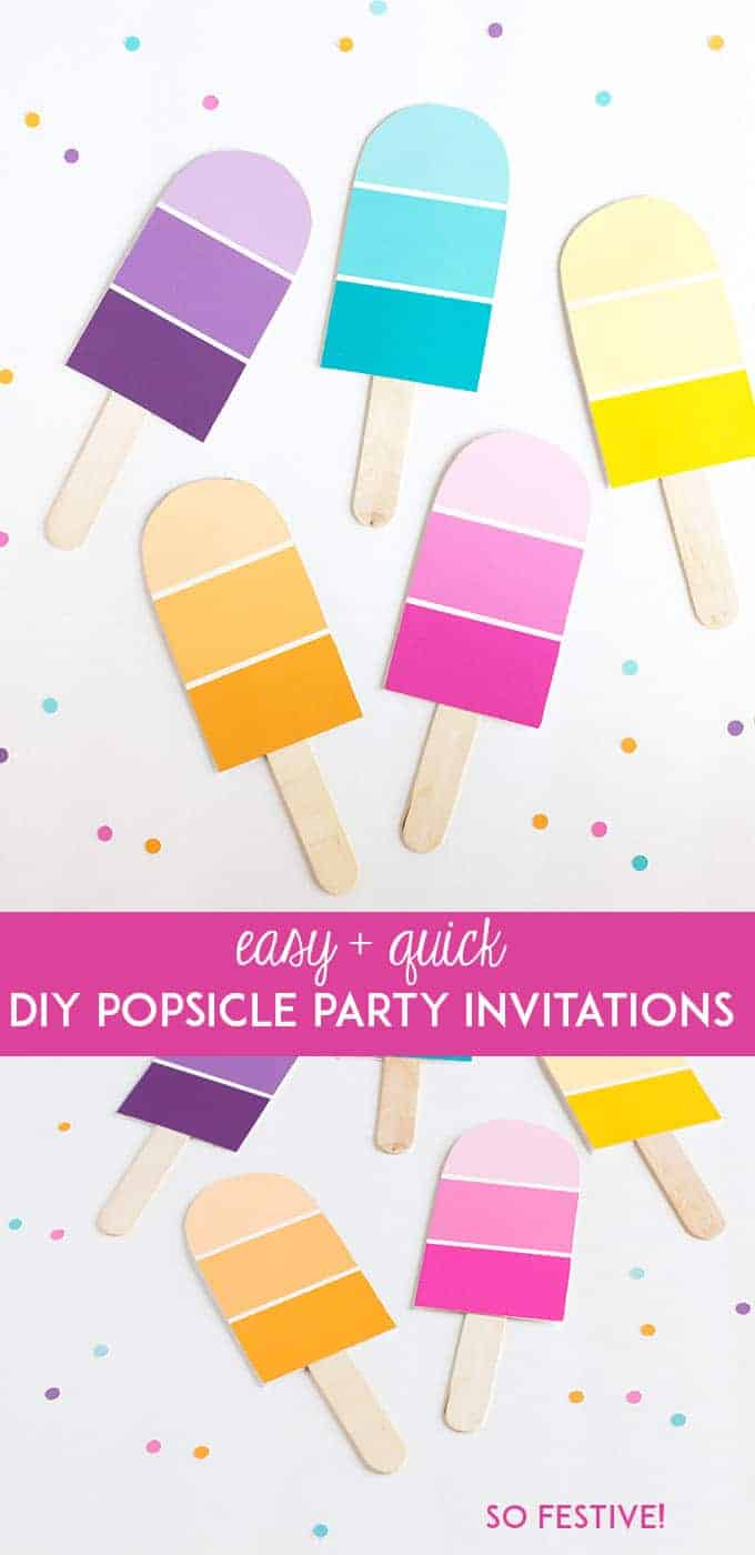 POPSICLE CRAFT DIY PARTY INVITATIONS USING PAINT SAMPLES