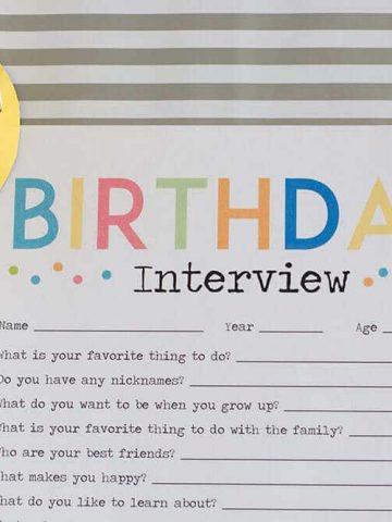Adorable Birthday Interview Printable