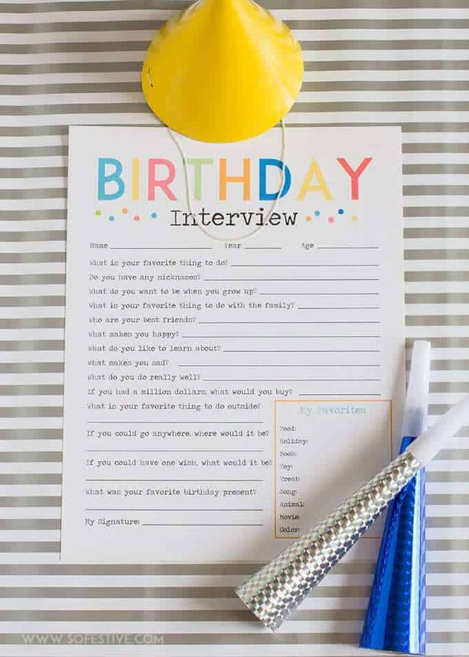 The Most Adorable Birthday Interview Printable A