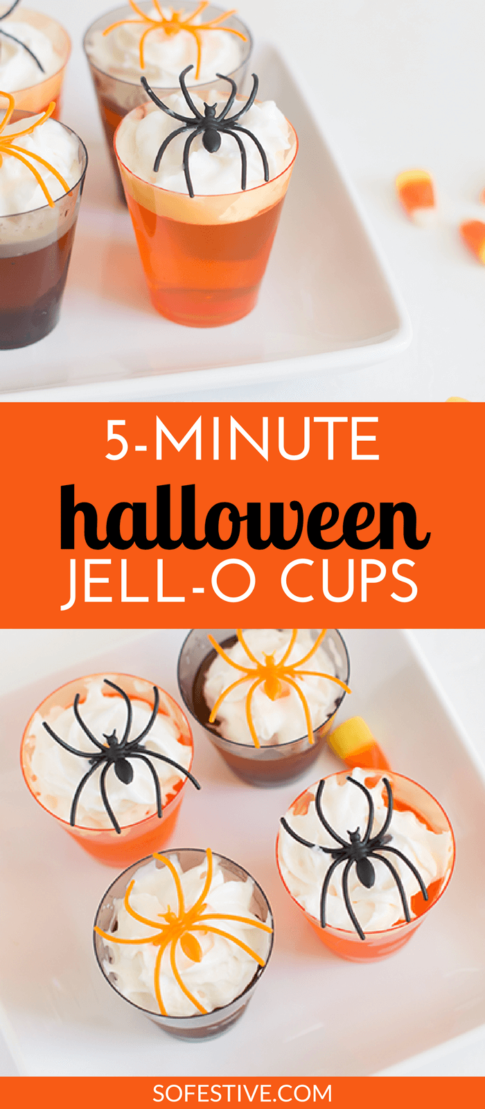 5-Minute Halloween Jello Dessert Cups- Spider Shots- Halloween Food Ideas
