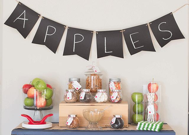 A Caramel Apple Bar is a fun Fall dessert for a party