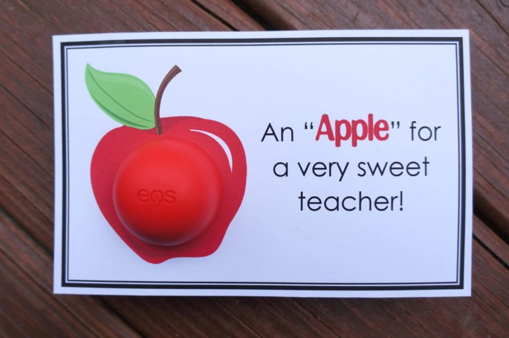 apple gifts for teacher- eos gift tags