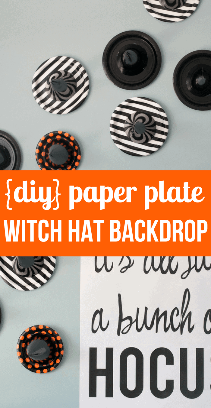 Simple DIY Paper Plate Witch Hat Backdrop- Halloween Party Decorations- Halloween Tablescape- Witch Themed Party