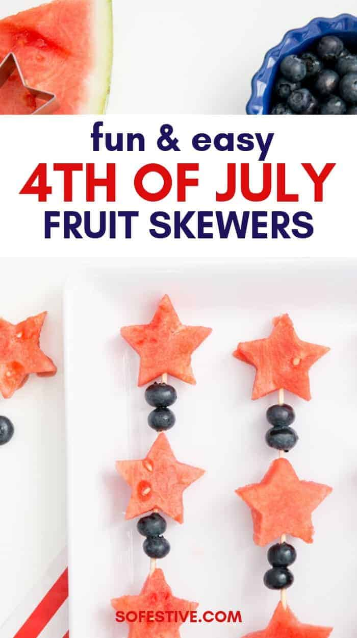 4th of July side dish fruit skewers