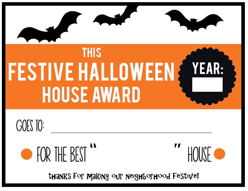 Festive Halloween House Awards-blank