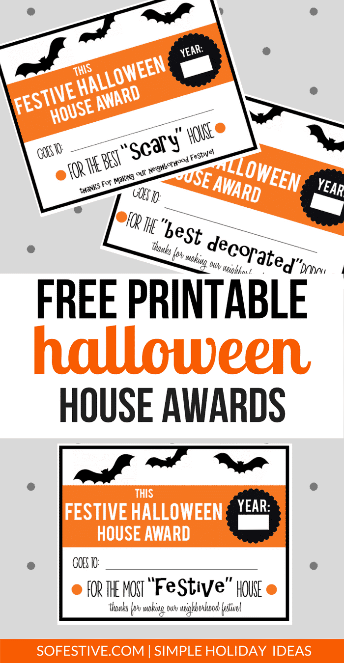 Free Printable Halloween House Awards- Fun Family Halloween Activity- Halloween Service Idea