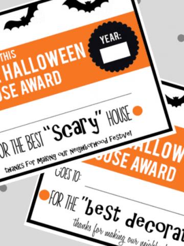 Halloween Family Activity-House Awards