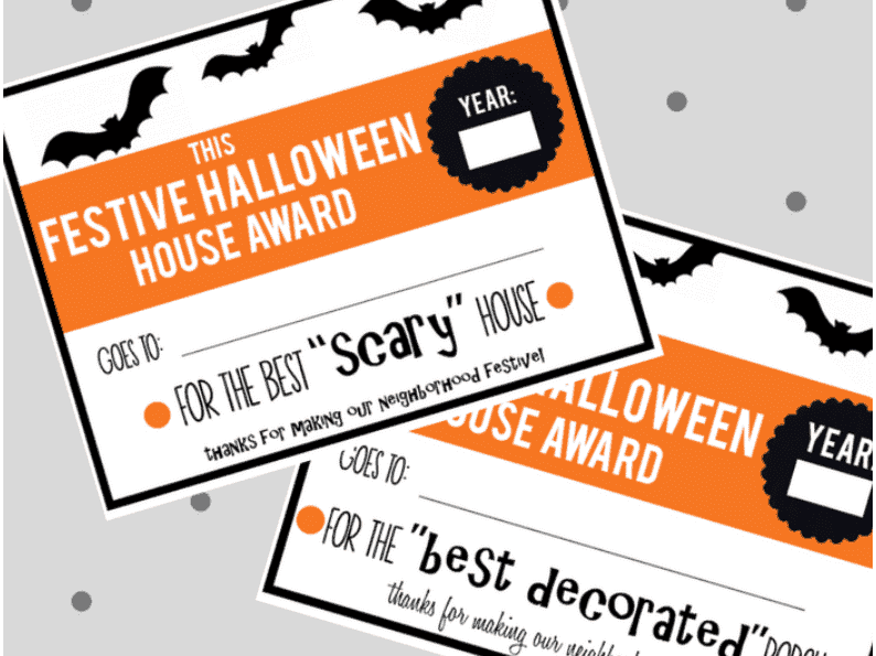 Halloween Family Activity-House Awards