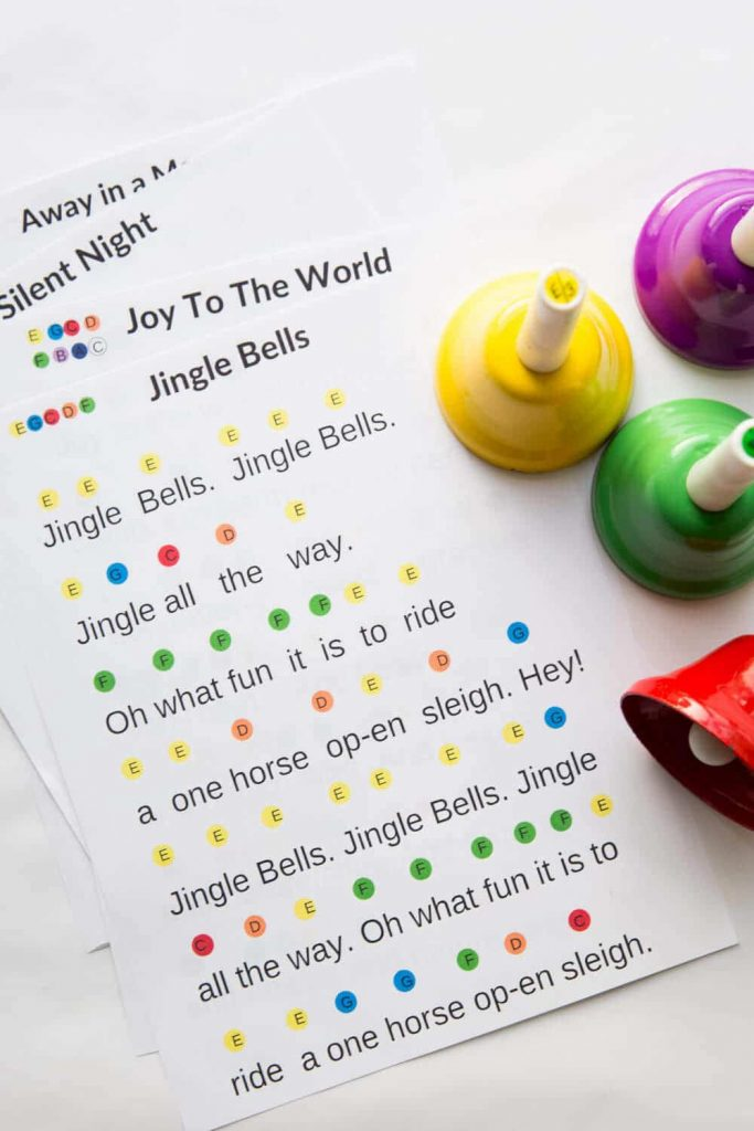 Christmas Hand Bell Music Sheets- Color Coded_