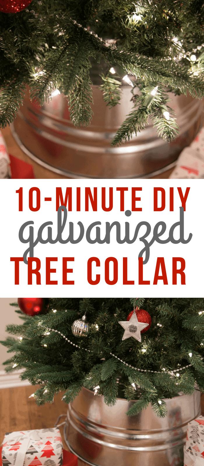 10 minute diy galvanized tree collar tutorial so festive. Black Bedroom Furniture Sets. Home Design Ideas