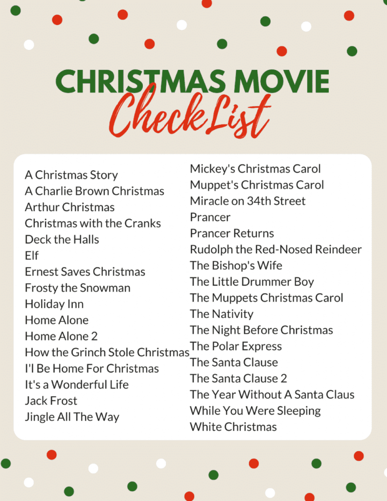Family-CHRISTMAS- MOVIE-CHECKLIST