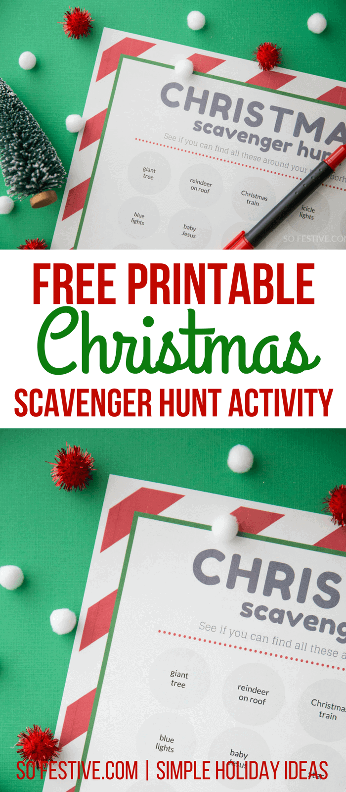 Christmas Scavenger Hunt Free Printable-Family Christmas Activity-Christmas Party Game