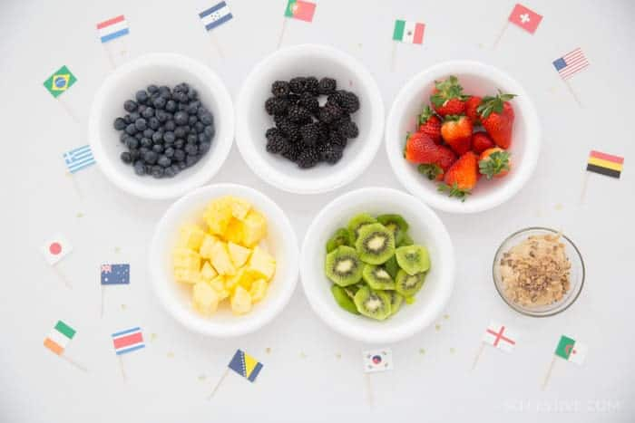 Olympic Party Ideas- Olympic Flag- Fruit Dip
