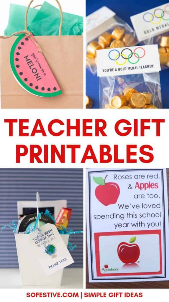 Simple Teacher Appreciation Gift Printables