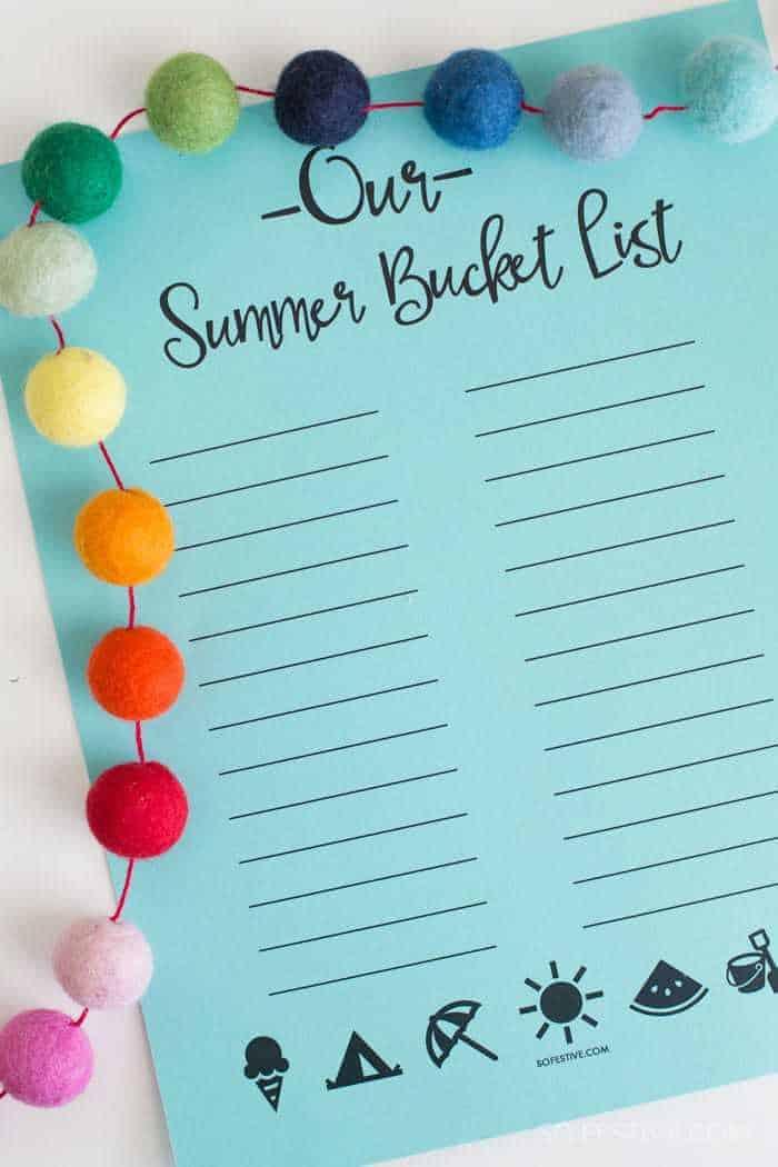 Summer Bucket List Printable 50 Fun Ideas So Festive