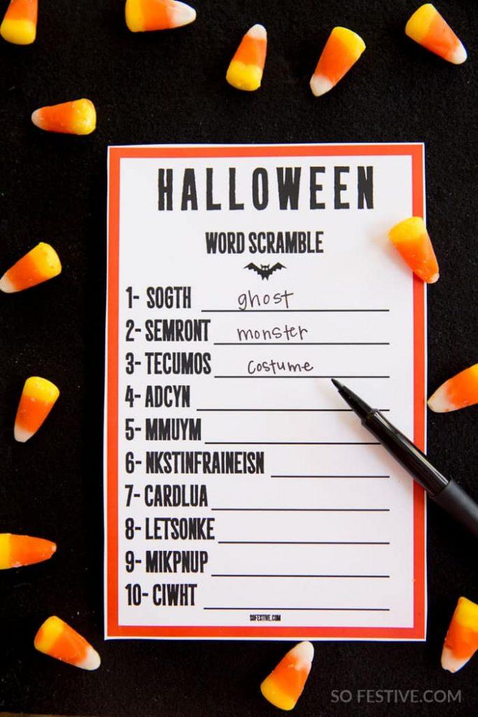 Halloween game- word scramble