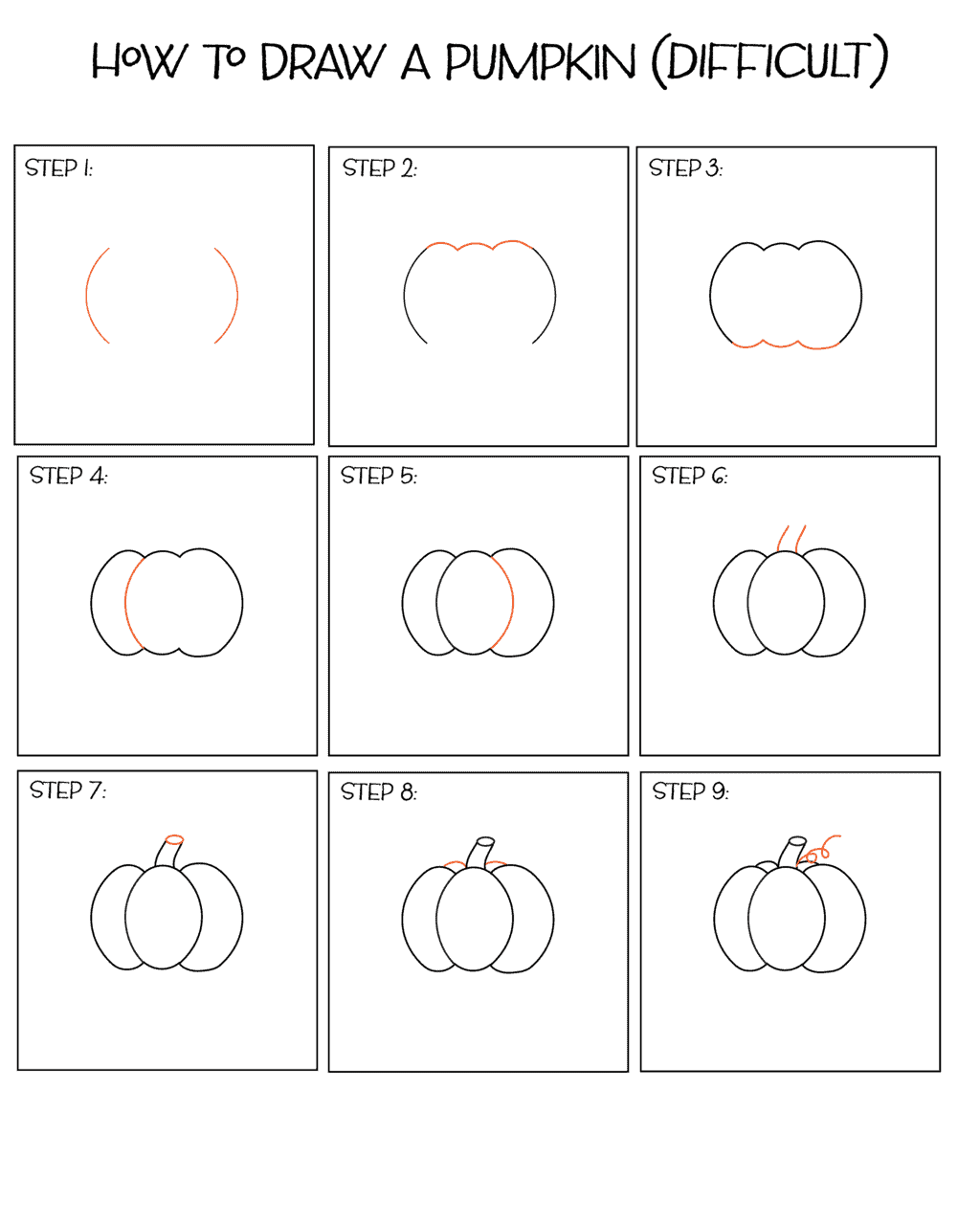 How-to-draw-a-pumpkin-easy
