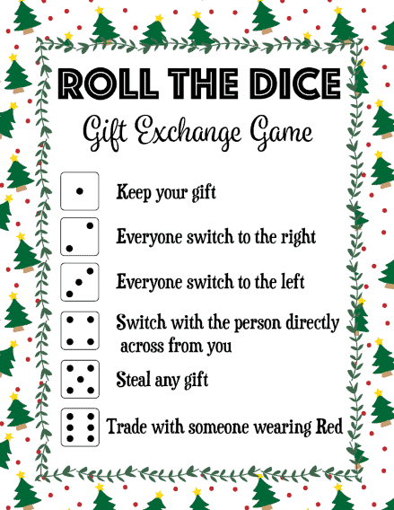 roll the dice gift exchange game