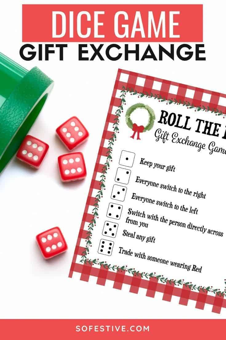 Roll The Dice Game For Gift Exchange Printable Game Sofestive Com
